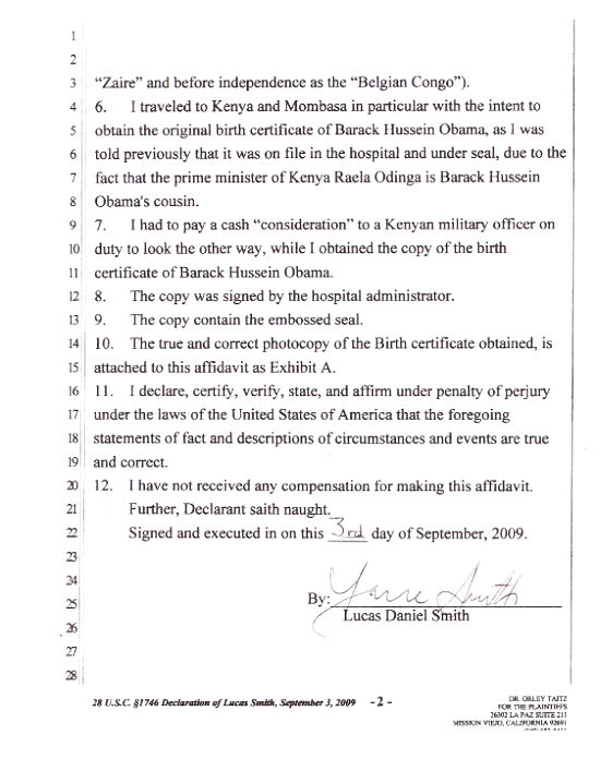 Challenging obamas eligibility to be president page 26 above certificate of birth from coast province general hospital in kenya with lucas daniel smiths affidavit altavistaventures Choice Image
