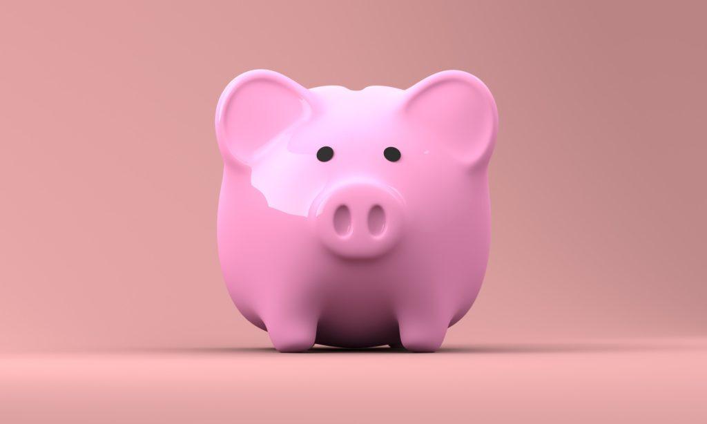 A pink piggybank.