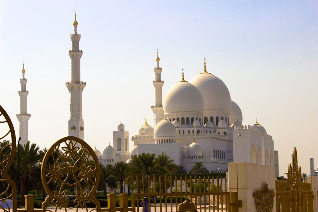An exterior of a mosque in Abu Dhabi.