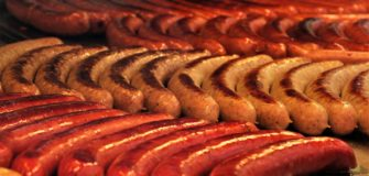 Rows of bratwurst.