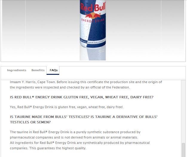 Red Bull Energy Drinks Contain Bull Sperm-Fiction