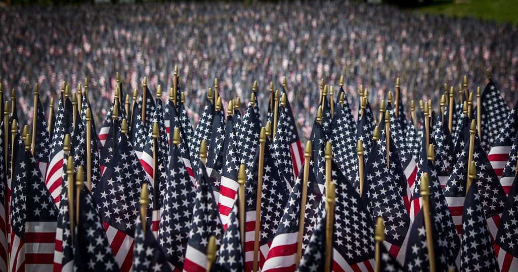 Field covered by American flags.