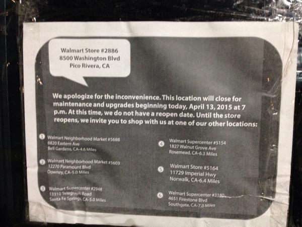 Walmart closing plumbing problems