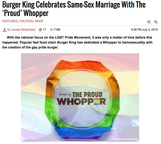 "Burger King Introduces ""Proud Whopper"" to Celebrate Gay Rights"