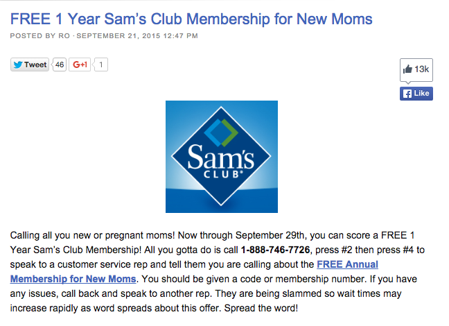Sams Club Promotion >> Sam S Club Offering Free Memberships To New Moms Mostly Truth