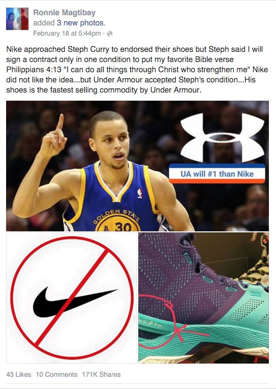 0c6d59e5b Nike Wouldn't Let Steph Curry Put Bible Passage on Shoes-Fiction ...