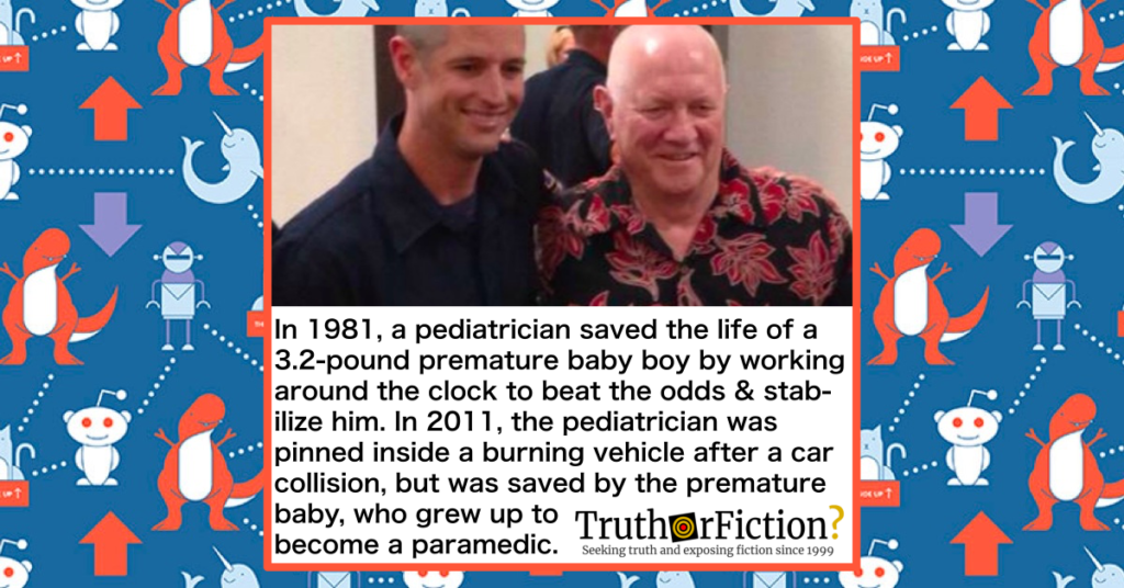 in 1981 a pediatrician saved premature baby in 2011 was saved by the premature baby who became a paramedic