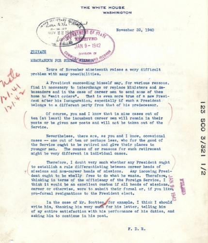 FDR Fires Diplomats Letter