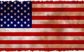 A slightly distressed American flag.