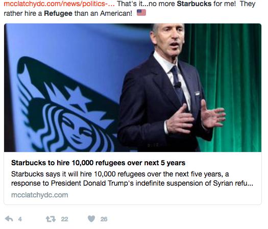 Starbucks pledge to hire 10,000 refugees
