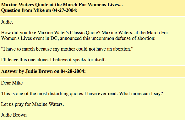 Maxine Waters on Abortion