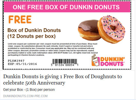 free dunkin donuts offer