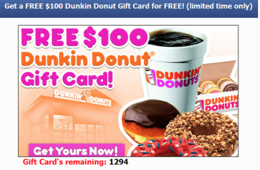 dunkin donuts $100 coupon