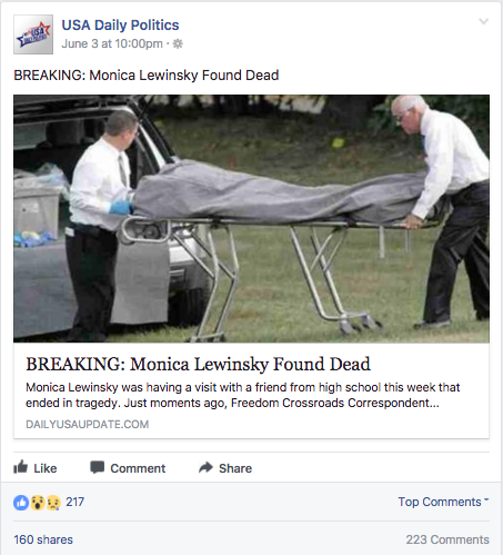 monica lewisky death hoax