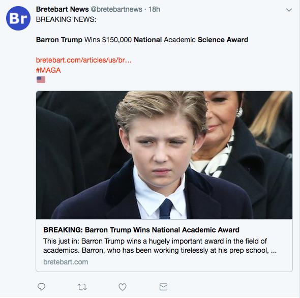 Barron Trump national science award