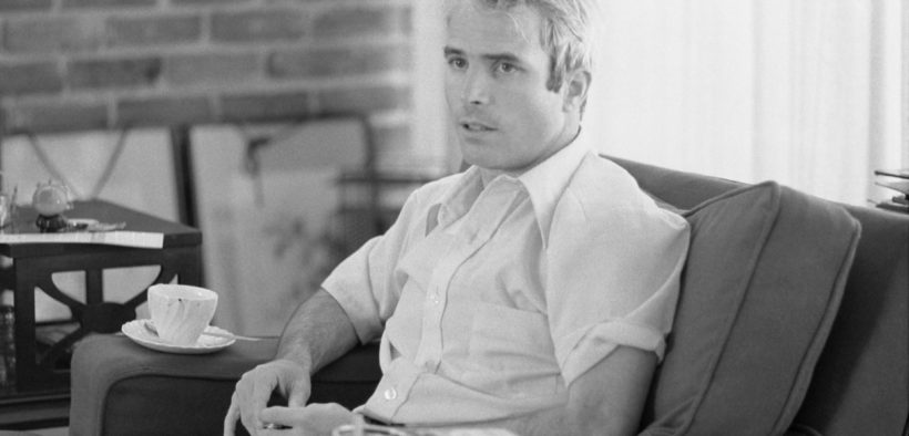 Lieutenant Commander McCain being interviewed after his return from Vietnam, April 1973.