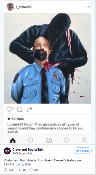NFL Player Isaiah Crowell Posted Image of Police Officer Execution