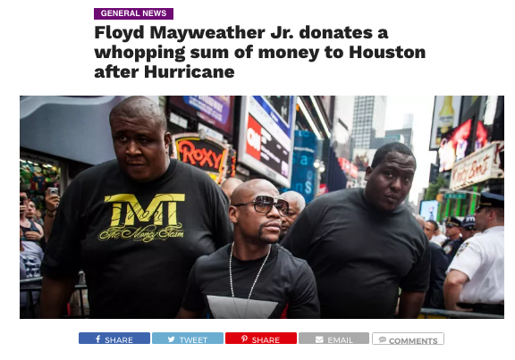 mayweather hurricane harvey