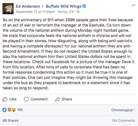 Buffalo Wild Wings National Anthem