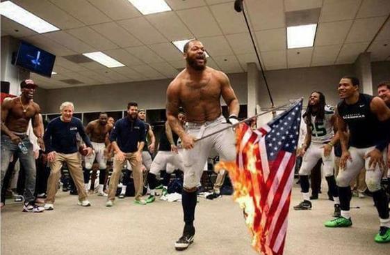 Seahawks Burn Flag