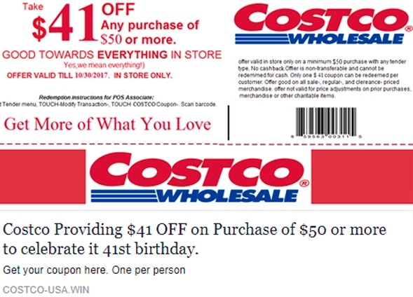Fake costco coupon