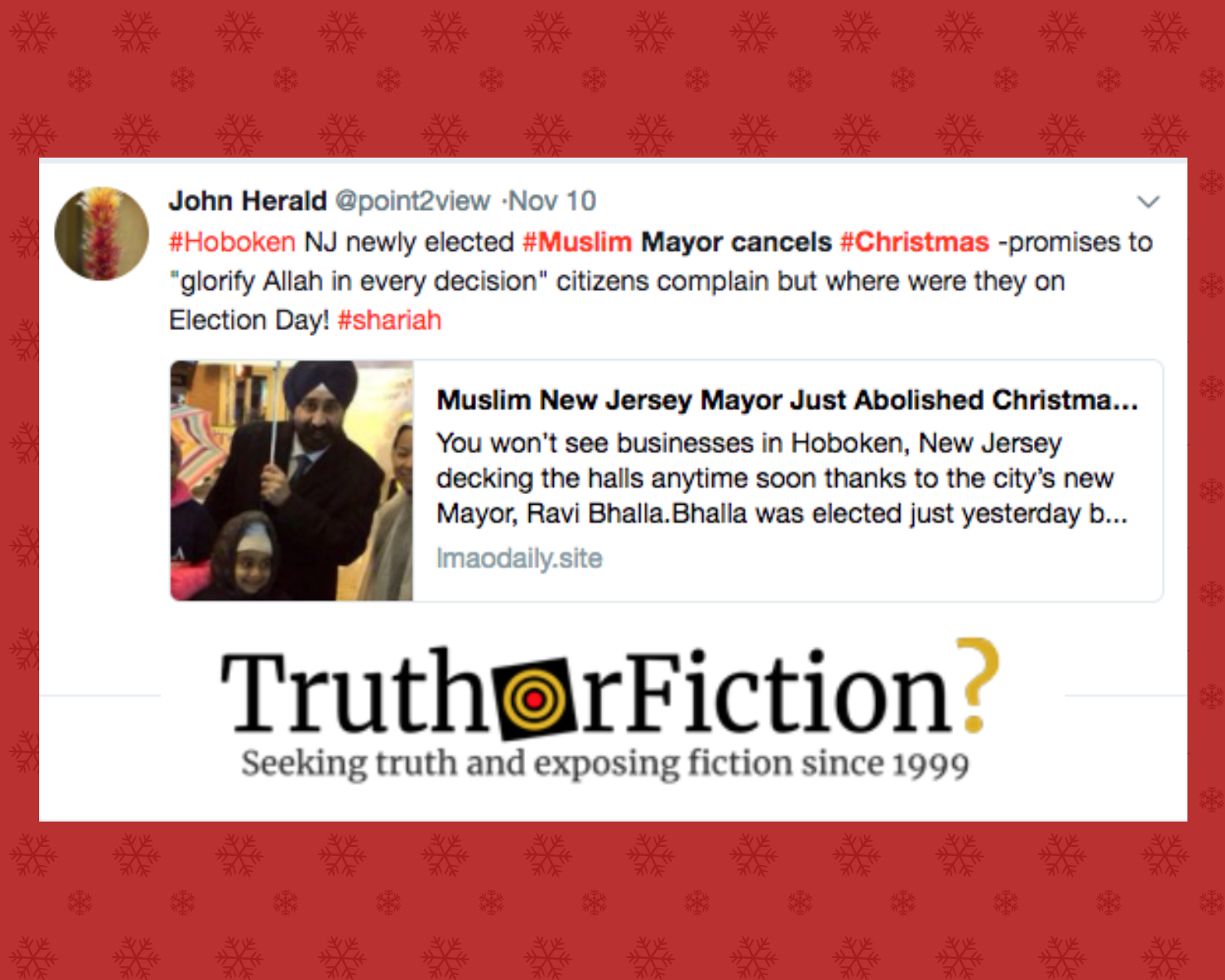 'Muslim New Jersey Mayor' Abolished Christmas to Respect Other Religions?