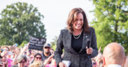 "Sen. Kamala Harris at a ""Linking Together: March to Save Our Care"" Rally at the U.S. Capitol on June 28, 2017."