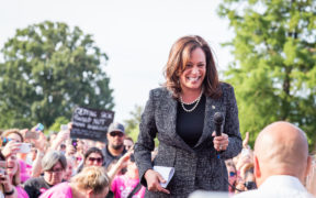"""Sen. Kamala Harris at a """"Linking Together: March to Save Our Care"""" Rally at the U.S. Capitol on June 28, 2017."""
