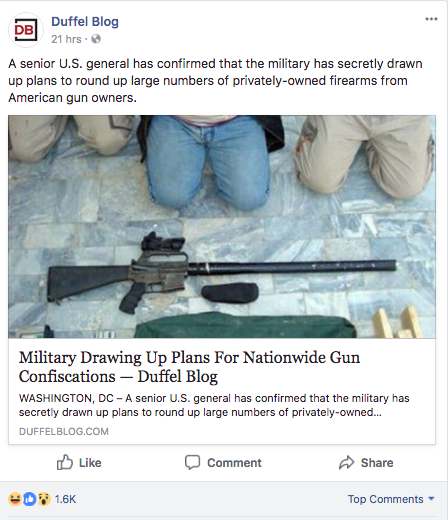 military plans to confiscate privately owned guns from americans