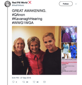 Conspiracy meme about Amy Schumer and Christine Blasey Ford being the same person