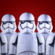 Star Wars stormtroopers against a dark red background.