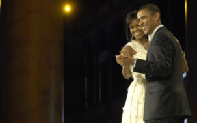 President Barack Obama and first lady Michelle Obama dance during the Commander in Chief's Ball in downtown Washington, D.C., Dec. 20, 2009. More than 5,000 men and women in uniform are providing military ceremonial support to the presidential inauguration, a tradition dating back to George Washington's 1789 inauguration. (DoD photo by Senior Airman Kathrine McDowell, U.S. Air Force/Released)