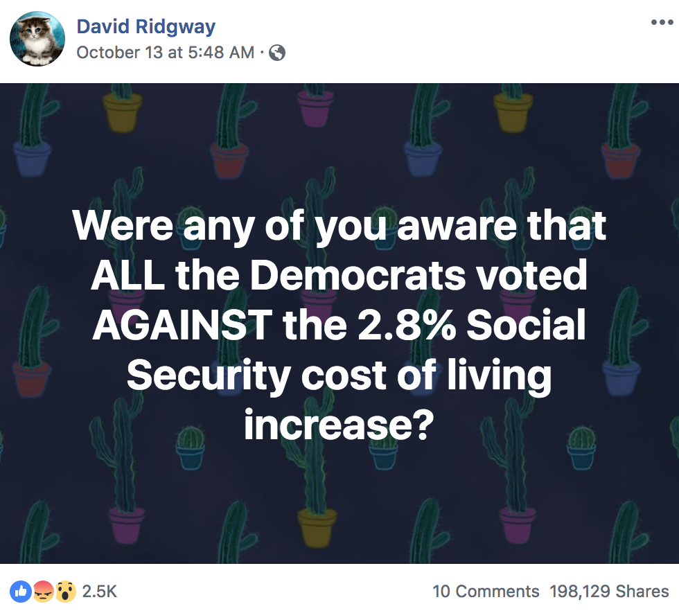 "Meme that claims, falsely: ""Were any of you aware that ALL the Democrats voted AGAINST the 2.8% Social Security cost of living increase?"""