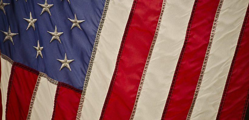 American flag at an angle.