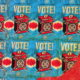 Shepard Fairey street art encouraging people to vote.