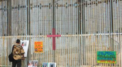 Border wall facing north in Playas, Tijuana, Mexico.