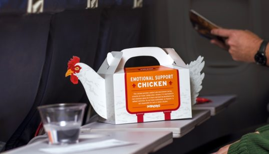 "Popeye's ""Emotional Support Chicken"" box."