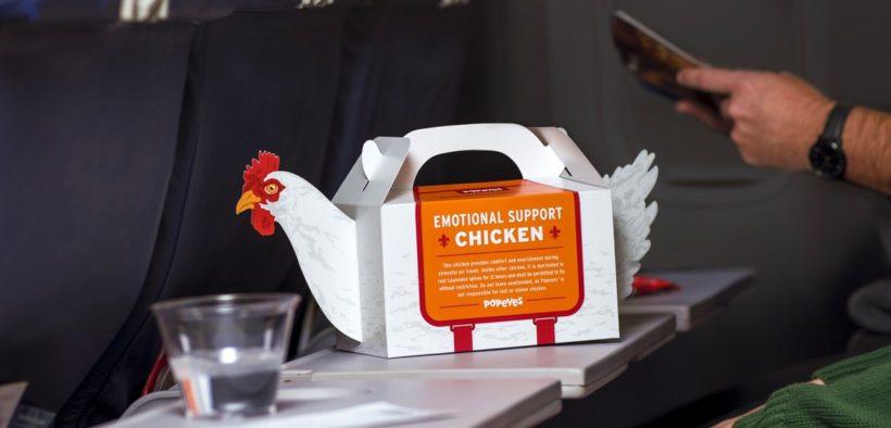 "Popeye's ""Emotional Support Chicken"" box."