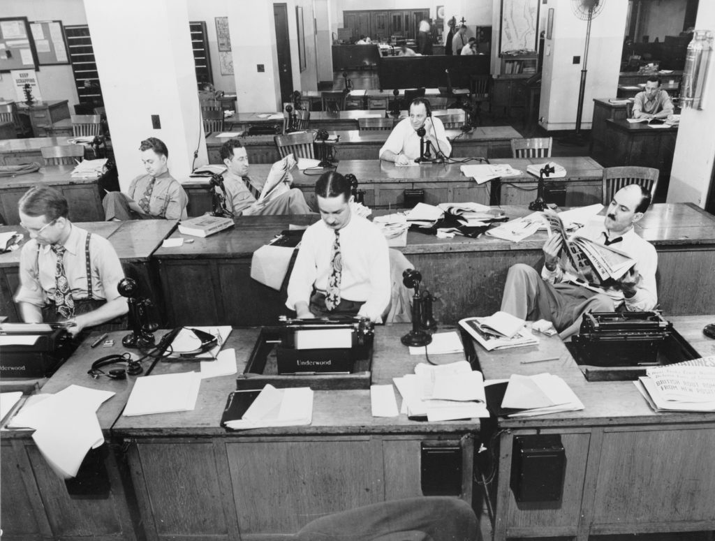 New York Times newsroom, c. 1920.