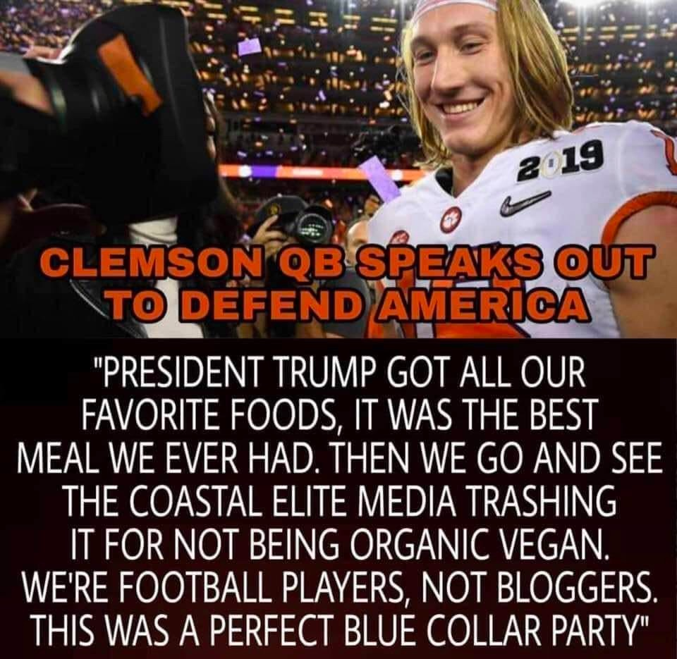 Served visiting clemson football players fast food in an understaffed white house during a record breaking ongoing government shutdown a meme emerged