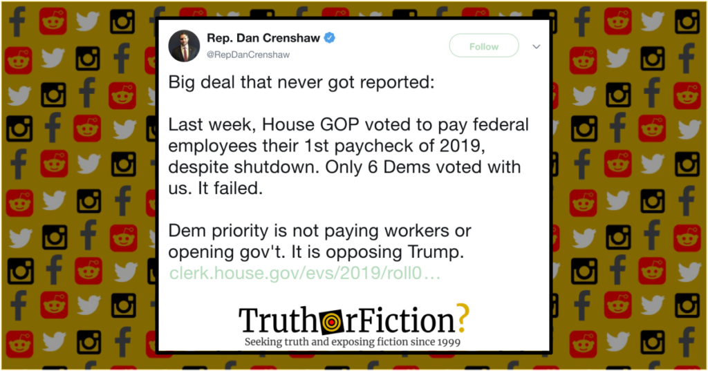 Did House Democrats Vote Against Shutdown Back Pay in January 2019
