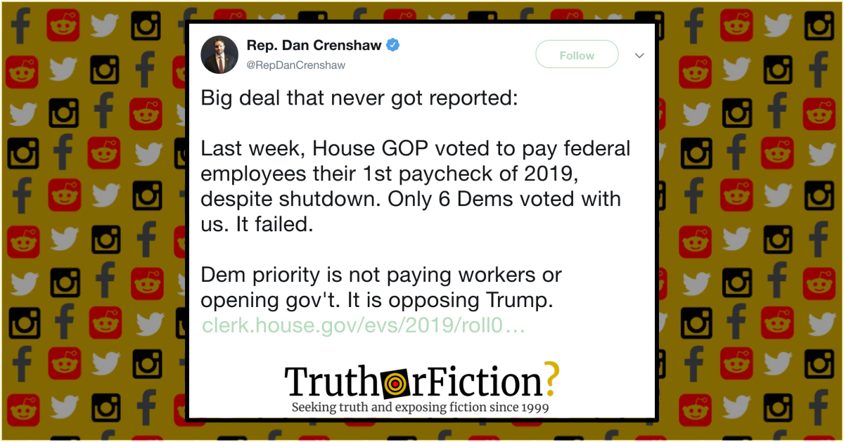 Did House Democrats Vote Against Shutdown Back Pay in January 2019?