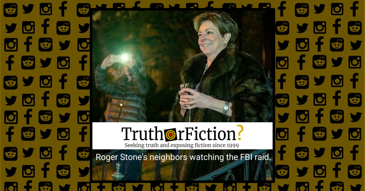 Is This a Photograph of Roger Stone's Neighbor Gleefully Watching the FBI Raid of His Home?