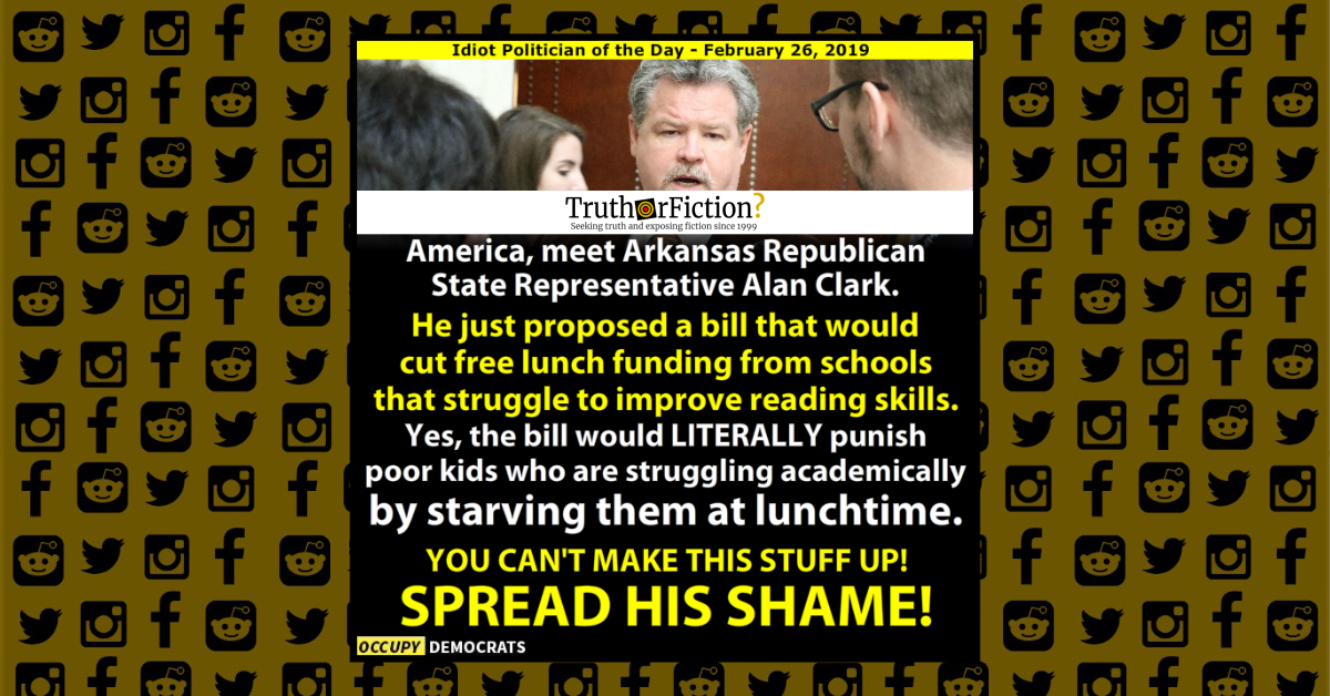Did an Arkansas Republican Propose Cutting Free Lunches to Punish Students?