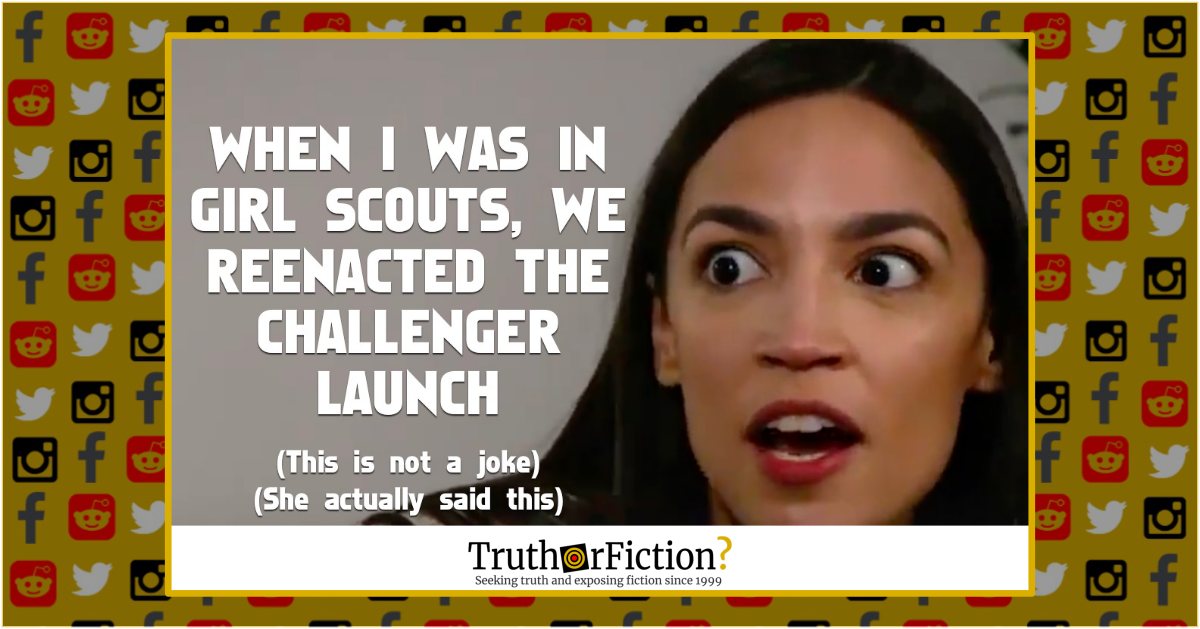Did Alexandria Ocasio-Cortez Say Her Girl Scout Troop Recreated the Challenger Launch?