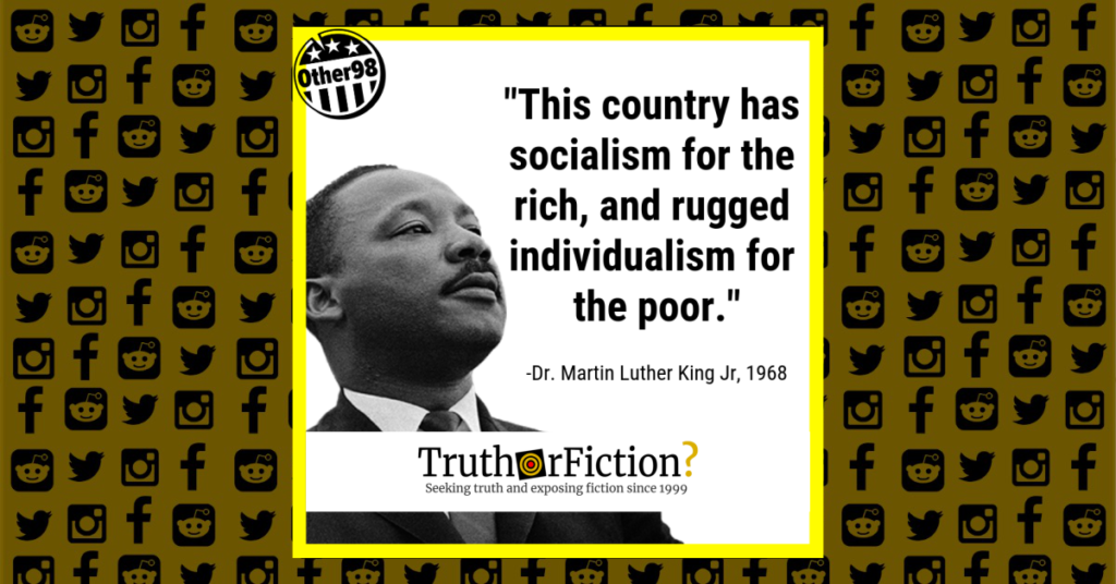 Dr Martin Luther King Jr Socialism For The Rich Rugged