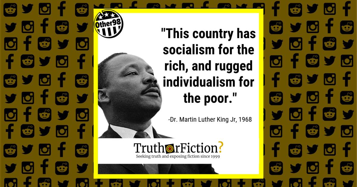 Dr Martin Luther King Jr Socialism