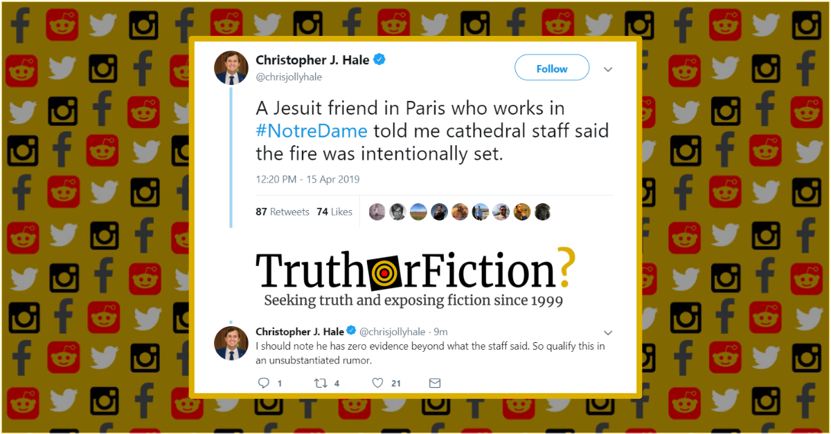 Notre Dame Cathedral Arson Rumors