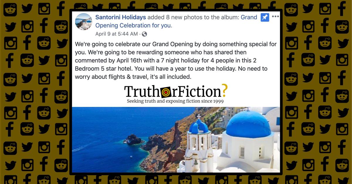 Santorini Holidays Facebook Giveaway Scam