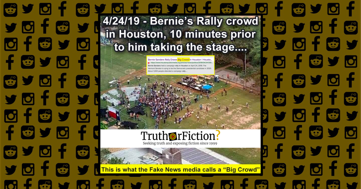 Does This Picture Show a Tiny Crowd Ten Minutes Before Sen. Bernie Sanders' April 2019 Houston Rally?